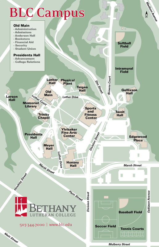 Campus Map Bethany Lutheran College