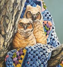 Owlets on Granny's Afghan, Malia Wiley Artist