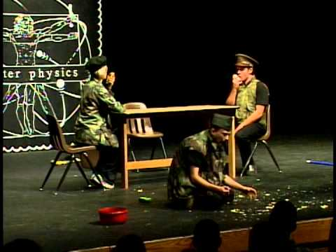 Students perform a skit on stage at Theatre Physics 12 (2005)