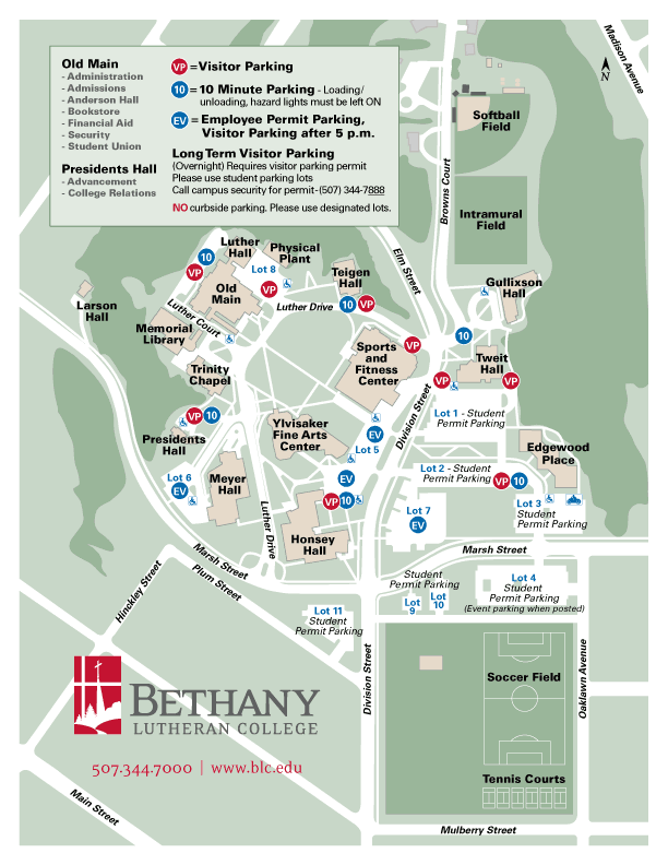 Map of campus showing designated parking locations