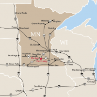 Regional map showing Bethany Lutheran College's location in south central Minnesota