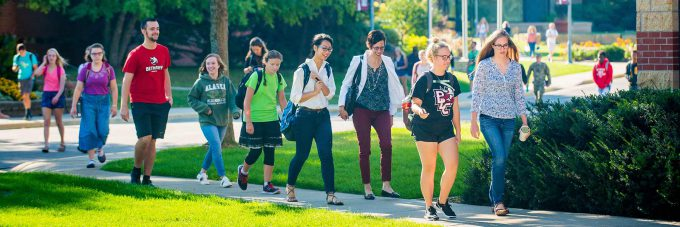 Students walking to chapel