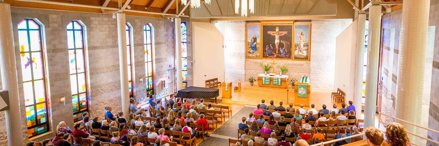 Photo of inside chapel during worship