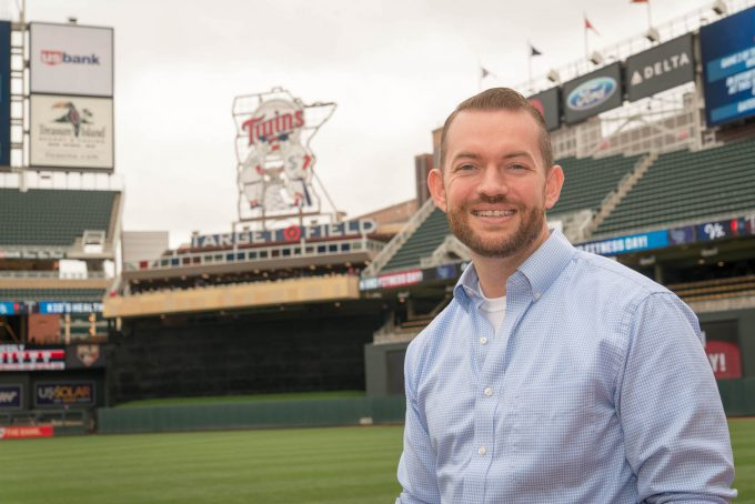Andrew Halverson ('07) at Target Field.