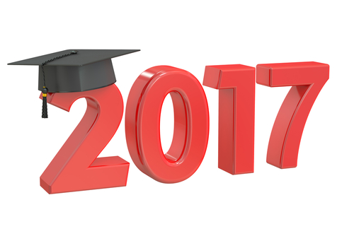 The year 2017 with a graduation cap on top