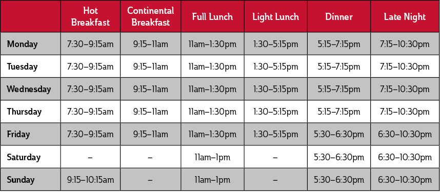 Weekday Hot Breakfast, 7:30 to 9:15 a.m.; Weekday Continental Breakfast, 9:15 to 11 a.m.; Weekday Full Lunch, 11 a.m. to 1:30 p.m.; Weekday Light Lunch, 1:30 to 5:15 p.m.; Weekday Dinner except Fridays, 5:15 to 7:15 p.m.; Friday Dinner, 5:30 to 6:30 p.m.; Weekday Late Night except Fridays, 7:15 to 10:30 p.m.; Friday Late Night, 6:30 to 10:30 p.m.; Saturday Brunch, 11:30 a.m. to 12:30 p.m. Saturday Dinner, 5:30 to 6:30 p.m.; Saturday Late Night, 6:30 to 10:30 p.m.; Sunday Breakfast, 9:15 to 10:15 a.m.; Sunday Lunch, 12 to 1 p.m.; Sunday Dinner, 5:30 to 6:30 p.m.; Sunday Late Night, 6:30 to 10:30 p.m.