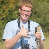 Abe Faugstad with a Sharp-shinned Hawk