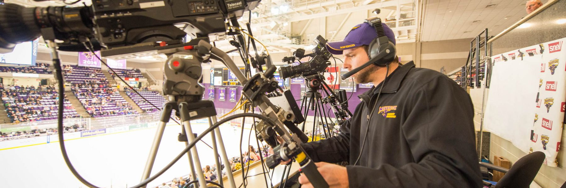 MSU hockey broadcast camera operator
