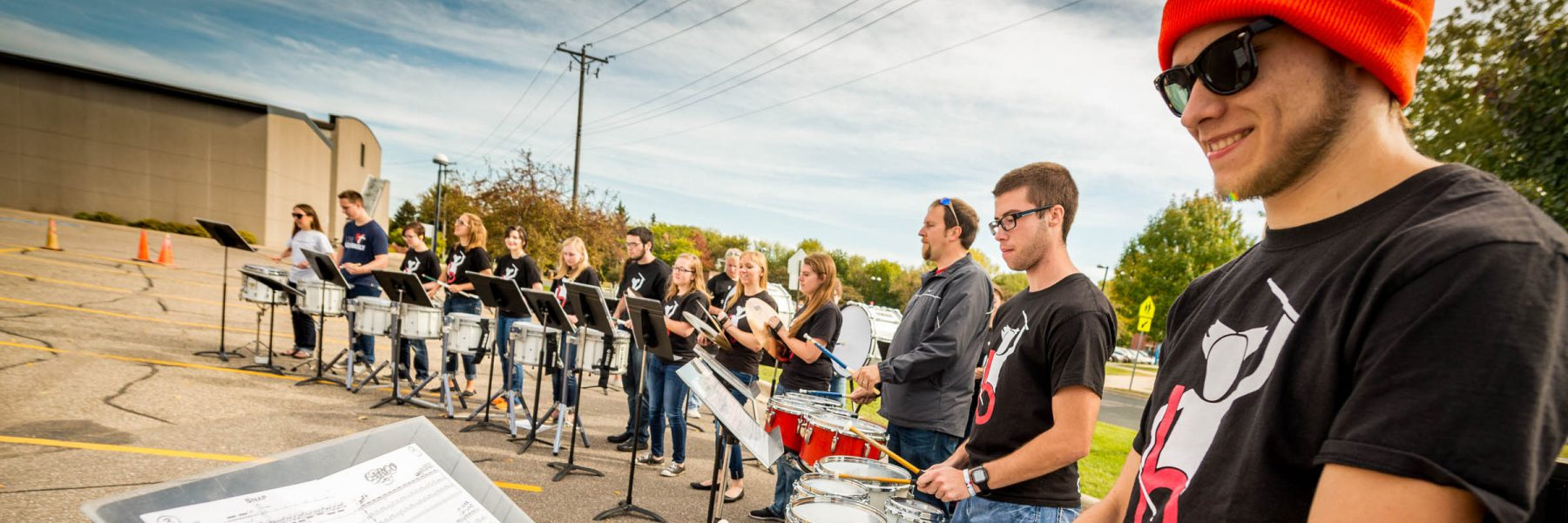 Bethany's B-Town Drumline performing during Fall Festival