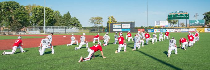 Baseball players at Franklin Rogers Park during fall practice