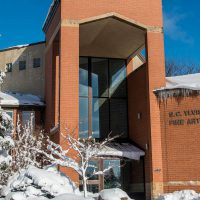 Ylvisaker Fine Arts Center with winter snowfall