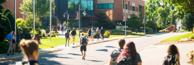Students walking between Honsey Hall and Meyer Hall