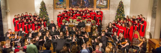 Choir and band playing at Christmas at Bethany concert
