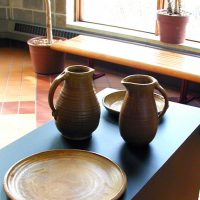 Pottery on display in the Ylvisaker Fine Arts Center gallery.