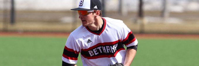 A close-up photo of a Bethany Vikings baseball player on the field.