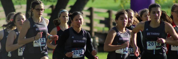 Members of the Bethany Vikings Cross Country team participating in a race.