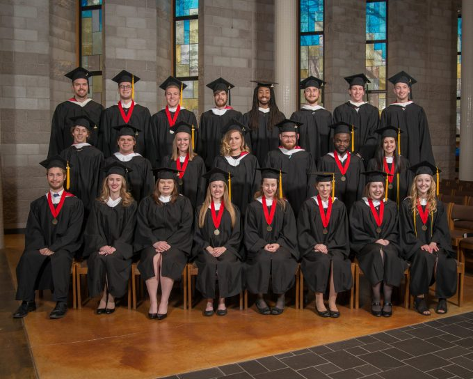 Posed photo of the graduating class at the 2018 Fall Commencement