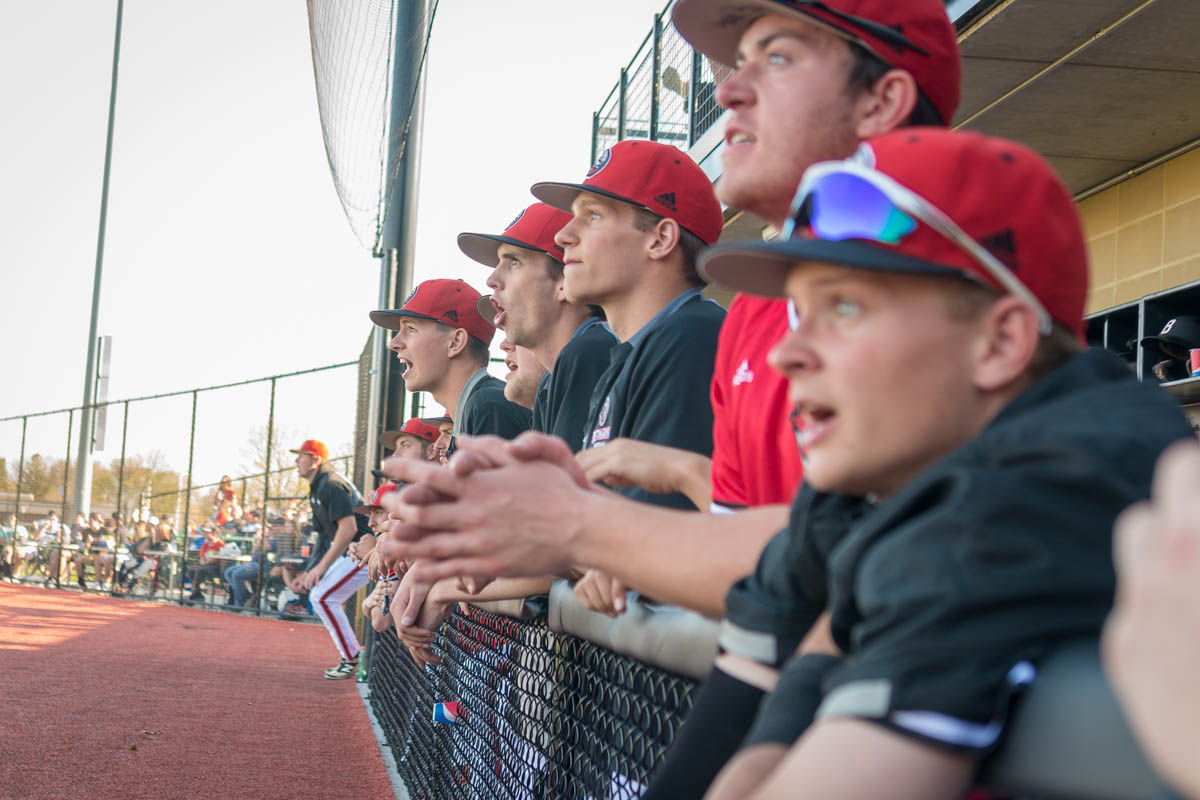 baseball players watching a game from their dugout