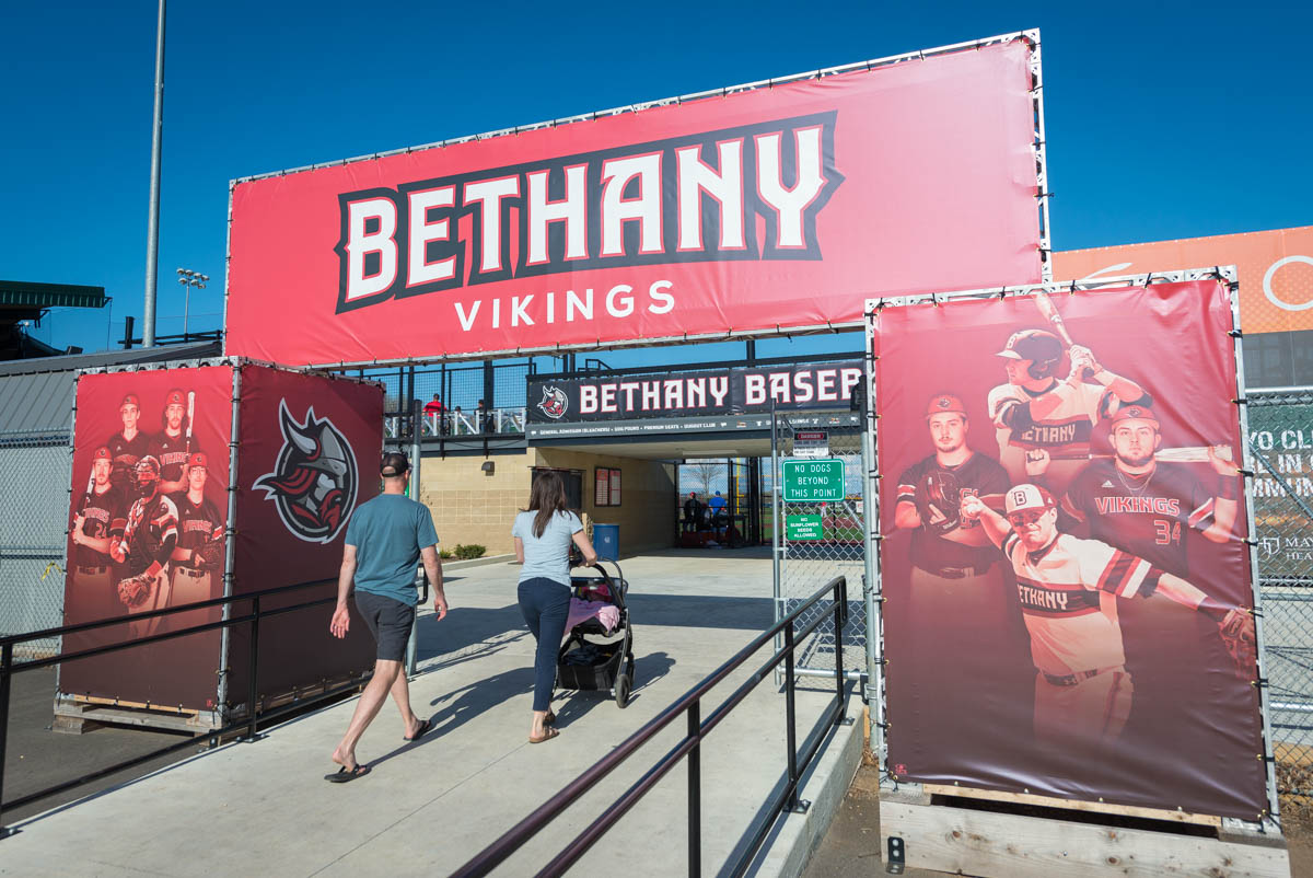 signs for Bethany Baseball at a park
