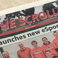 "The Scroll student newspaper, May 2019 front page with headline, ""Bethany launches new esports program."""