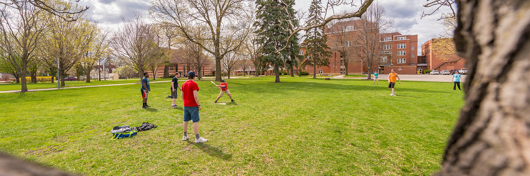 Wiffle ball game on campus green