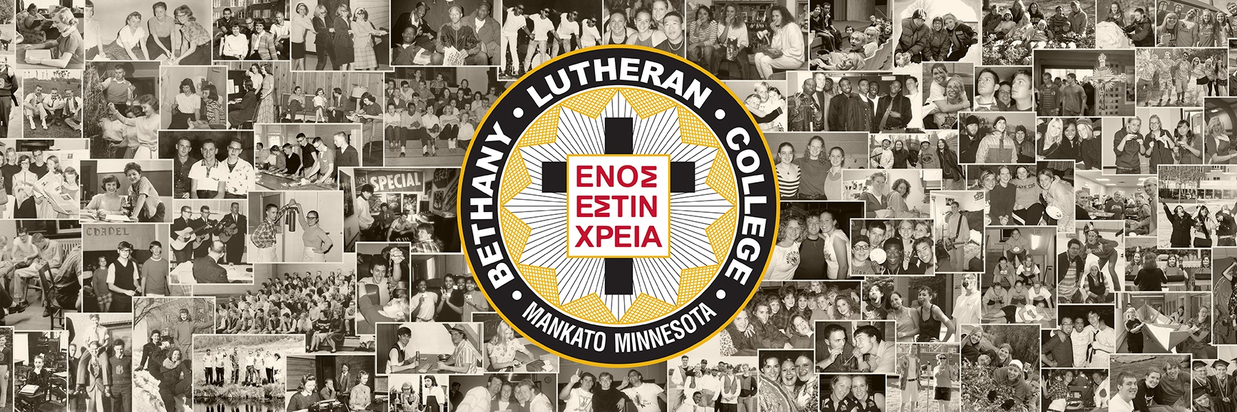 photo montage with bethany lutheran college seal