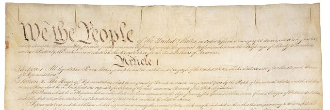 Top of the U.S. Constitution document