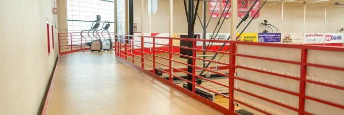 running track elevated above a gym