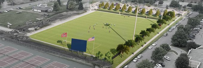 artist rendering of new artificial turf soccer field over aerial photo of campus