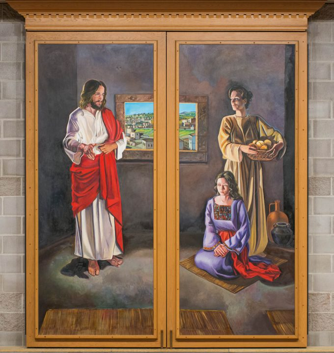Altar triptych painting closed