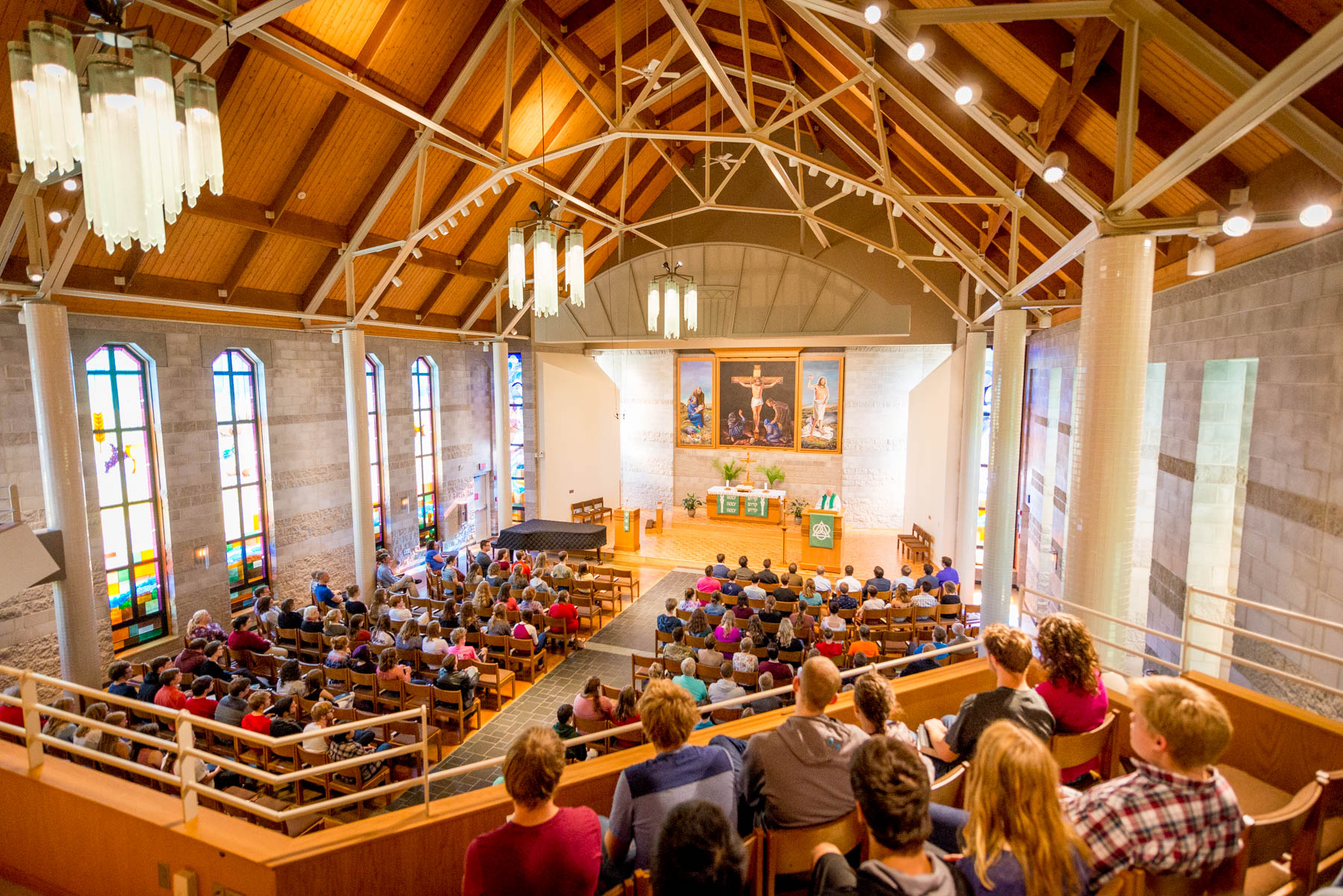 Inside Trinity Chapel during worship service