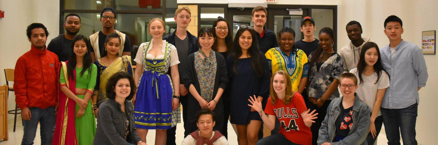 students from the world club pose for a group photo