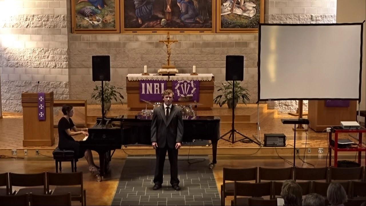 Bethany student Tony Cordes performing his voice recital in Trinity Chapel