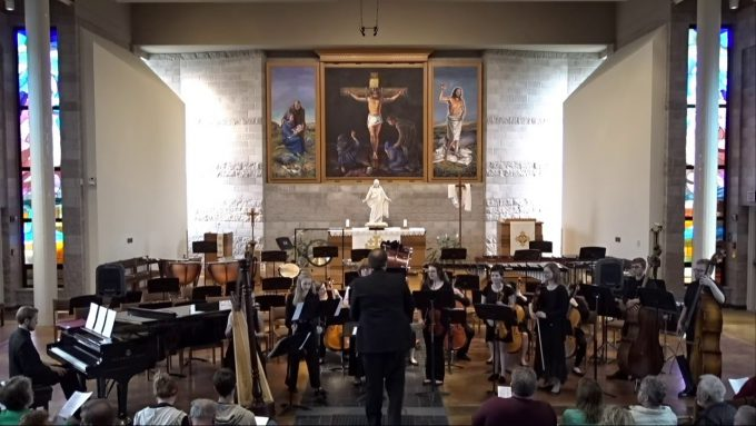 Bethany Lutheran College's concert band performs in Trinity Chapel, April 2019