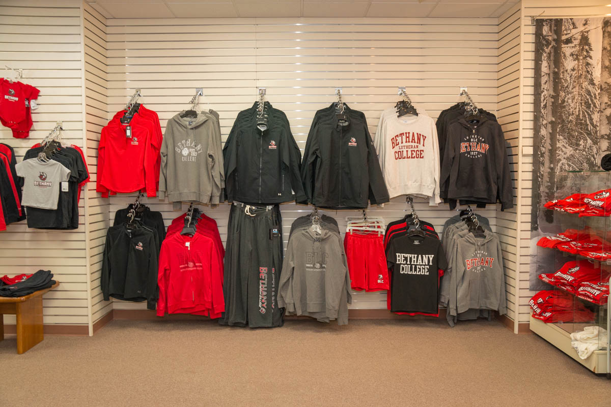 Clothing items in the Bethany Bookstore