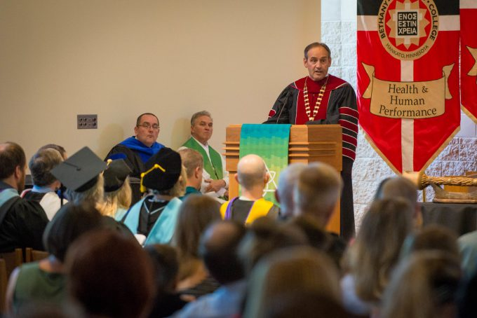 BLC President Gene Pfeifer delivers his address from the lecturn in Trinity Chapel during the 2019 opening service.