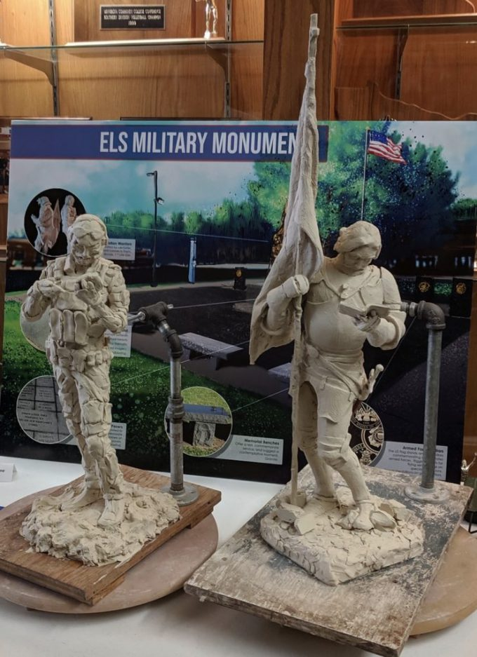 Depicts the artist's rendering of the ELS Military Monument.