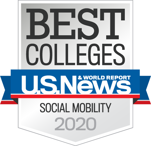 US News and world report graphic for Best Colleges, social mobility 2020