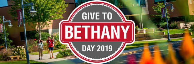 Give to Bethany Day 2019 logo on photo of campus