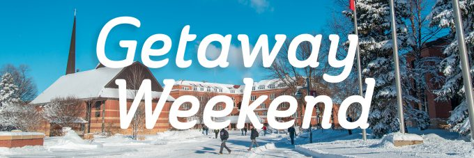 """student walking outside in the snow with the text """"getaway weekend"""" on top"""