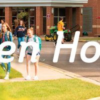 "photo of students walking outside with the text ""open house"" on top"