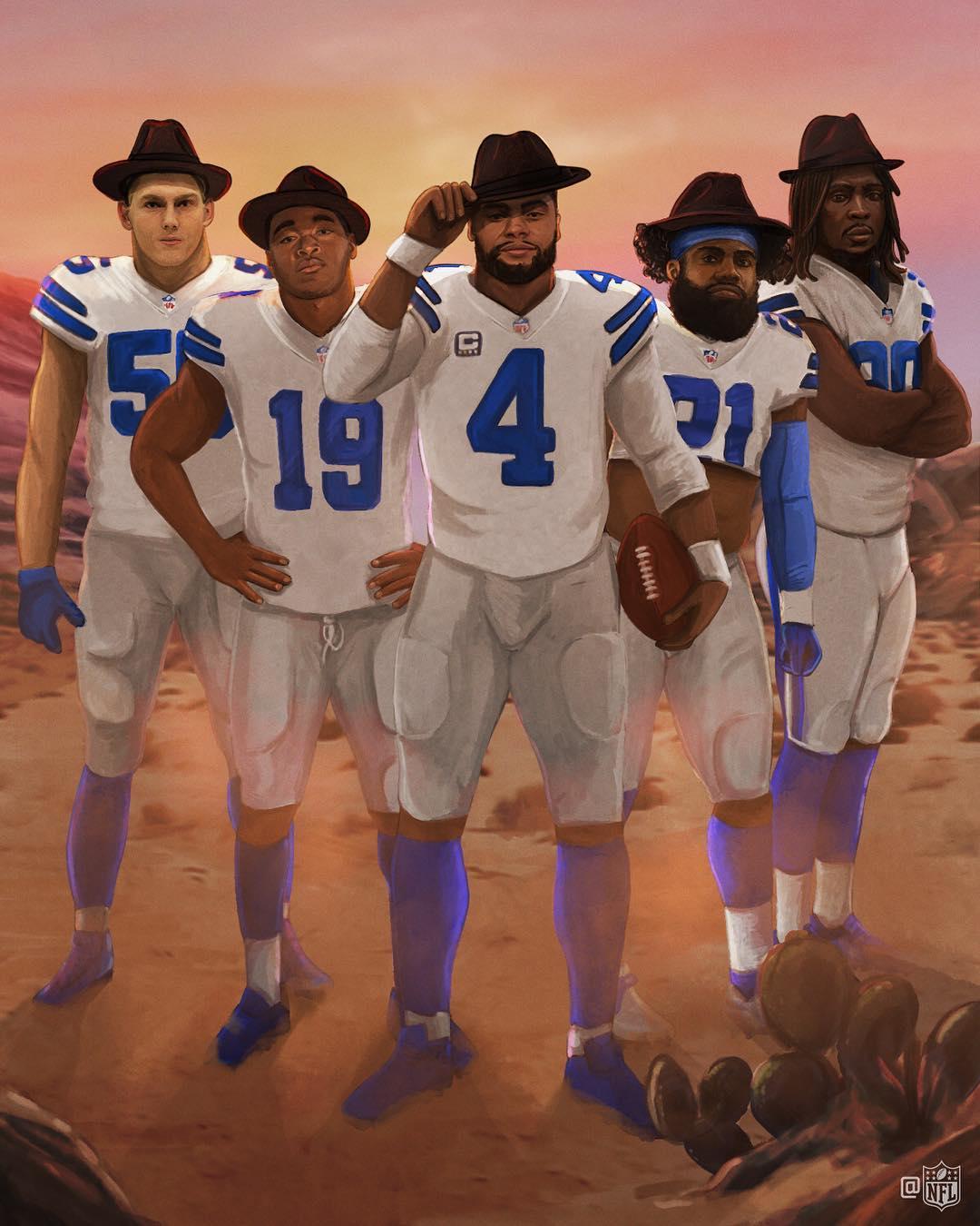 Dallas Cowboys quarterback Dak Prescott with his supporting receiving cast.