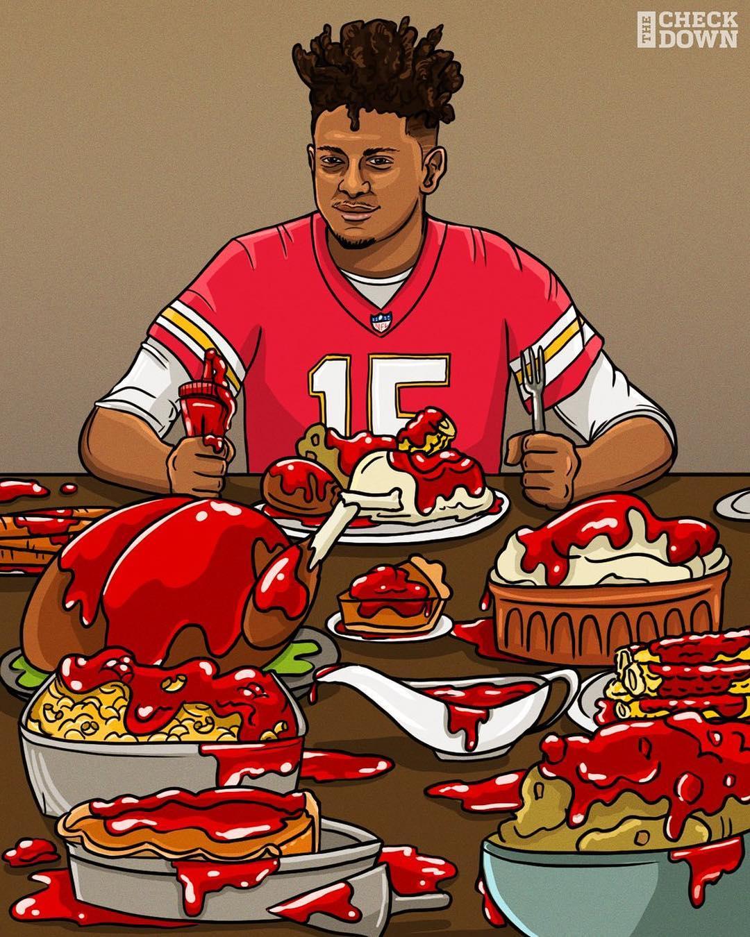 Kansas City Chiefs quarterback Patrick Mahomes (who's a major fan of ketchup) feasting at Thanksgiving.