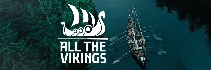 All the vikings text over photo of boat in water