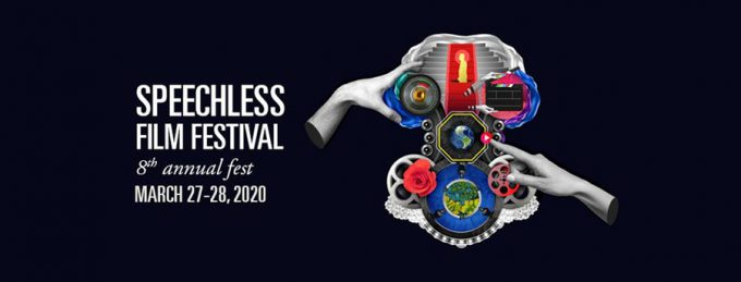 speechless film festival 8th annual fest March 27-28, 2020 - abstract graphic with gears and hands pointing