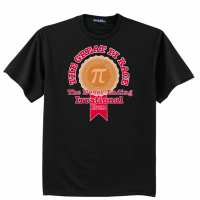 """T-shirt with Pi symbol and the words """"The Great Pi Race - The Never-Ending Irrational Run"""""""