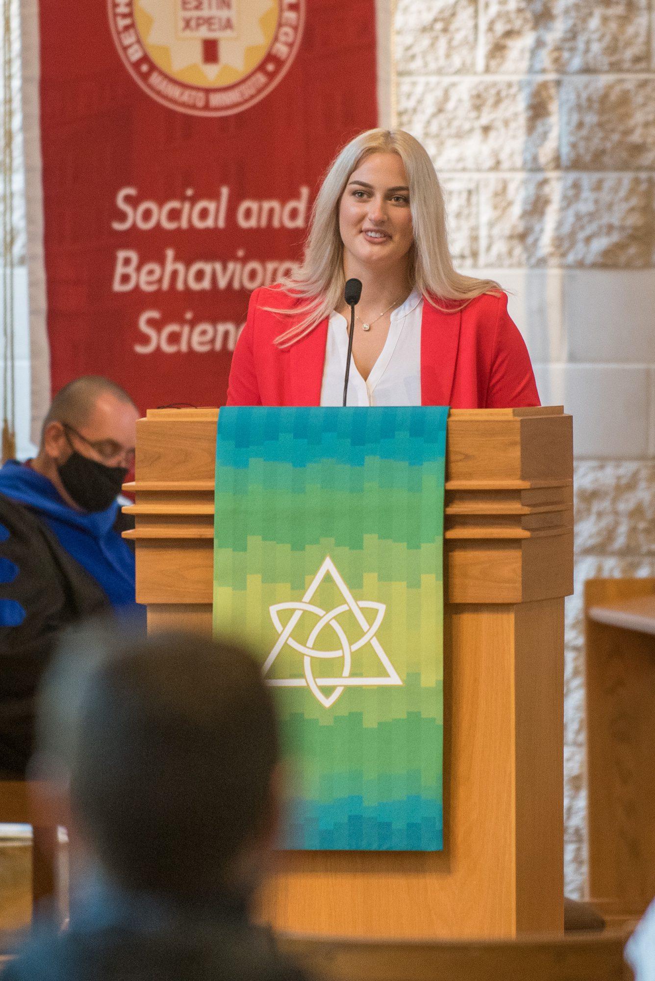 Student Senate President Karena Verbitzkys