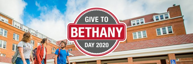 Give to Bethany Day 2020 text over photo of students outside by Old Main building