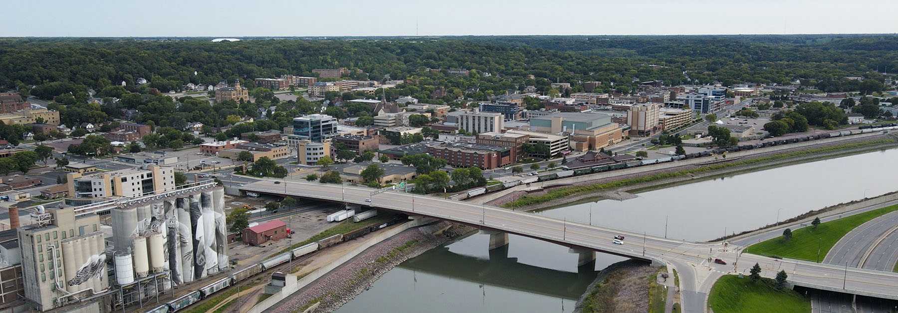 arial photo of downtown Mankato across the river from North Mankato