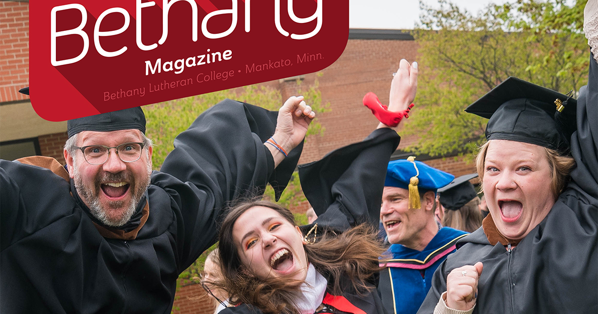 Bethany Magazine May 2021 cover with smiling professors and student in graduation robes and mortar boards outside
